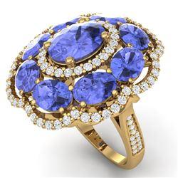15.24 CTW Royalty Tanzanite & VS Diamond Ring 18K Yellow Gold - REF-327R3K - 39194