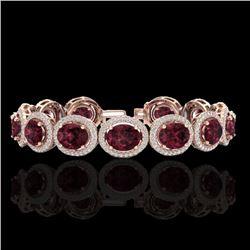 27 CTW Garnet & Micro Pave VS/SI Diamond Certified Bracelet 10K Rose Gold - REF-360W2H - 22689