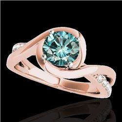 1.15 CTW SI Certified Fancy Blue Diamond Solitaire Ring 10K Rose Gold - REF-150T9X - 34841