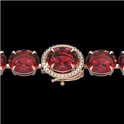 65 CTW Pink Tourmaline & Micro VS/SI Diamond Halo Bracelet 14K Rose Gold - REF-772R2K - 22272