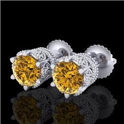 2.04 CTW Intense Fancy Yellow Diamond Art Deco Stud Earrings 18K White Gold - REF-209R3K - 38099
