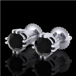1.07 CTW Fancy Black Diamond Solitaire Art Deco Stud Earrings 18K White Gold - REF-85W5H - 37534