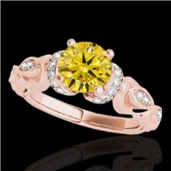 1.2 CTW Certified Si Intense Yellow Diamond Solitaire Antique Ring 10K Rose Gold - REF-161W8H - 3468