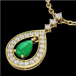 1.15 CTW Emerald & Micro Pave VS/SI Diamond Necklace Designer 14K Yellow Gold - REF-61W8H - 23167