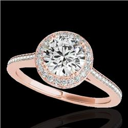 1.55 CTW H-SI/I Certified Diamond Solitaire Halo Ring 10K Rose Gold - REF-180H2W - 33527