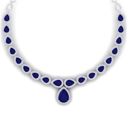 51.41 CTW Royalty Sapphire & VS Diamond Necklace 18K White Gold - REF-927F3M - 39426