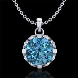 1.5 CTW Fancy Intense Blue Diamond Solitaire Art Deco Necklace 18K White Gold - REF-172K8R - 37383