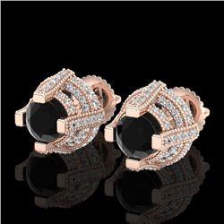 2.75 CTW Fancy Black Diamond Solitaire Micro Pave Stud Earrings 18K Rose Gold - REF-180K2R - 37626