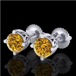 1.5 CTW Intense Fancy Yellow Diamond Art Deco Stud Earrings 18K White Gold - REF-263W6H - 38071