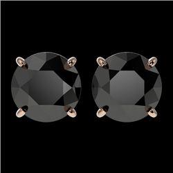 2.50 CTW Fancy Black VS Diamond Solitaire Stud Earrings 10K Rose Gold - REF-62M2F - 33104