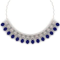 56.05 CTW Royalty Sapphire & VS Diamond Necklace 18K Rose Gold - REF-1054M5F - 39067