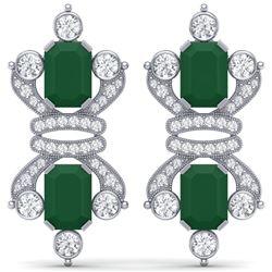 27.36 CTW Royalty Emerald & VS Diamond Earrings 18K White Gold - REF-600X2T - 38760