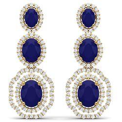 17.51 CTW Royalty Sapphire & VS Diamond Earrings 18K Yellow Gold - REF-345F5M - 39209