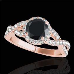 1.54 CTW Certified Vs Black Diamond Solitaire Halo Ring 10K Rose Gold - REF-72M2F - 33791