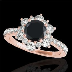 2 CTW Certified Vs Black Diamond Solitaire Halo Ring 10K Rose Gold - REF-96Y5N - 33710