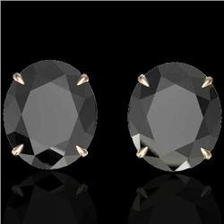 18 CTW Black VS/SI Diamond Certified Designer Stud Earrings 14K Rose Gold - REF-381W8H - 21694