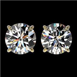 2.59 CTW Certified H-SI/I Quality Diamond Solitaire Stud Earrings 10K Yellow Gold - REF-356F4M - 366