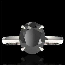 5 CTW Black VS/SI Diamond Designer Inspired Solitaire Ring 18K White Gold - REF-124T9X - 22055