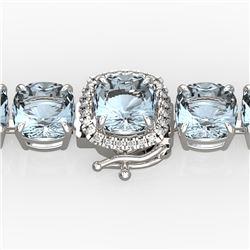 35 CTW Aquamarine & Micro VS/SI Diamond Halo Designer Bracelet 14K White Gold - REF-304T8X - 23299
