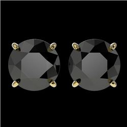 3.18 CTW Fancy Black VS Diamond Solitaire Stud Earrings 10K Yellow Gold - REF-80H9W - 36699
