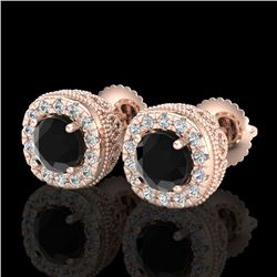 1.69 CTW Fancy Black Diamond Solitaire Art Deco Stud Earrings 18K Rose Gold - REF-121K8R - 37990