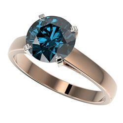 2.50 CTW Certified Fancy Blue SI Diamond Solitaire Ring 10K Rose Gold - REF-608K5R - 33046