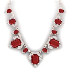 75.21 CTW Royalty Ruby & VS Diamond Necklace 18K Rose Gold - REF-1363W6H - 38749