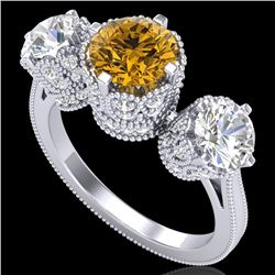 3.06 CTW Intense Fancy Yellow Diamond Art Deco 3 Stone Ring 18K White Gold - REF-390K9R - 37392