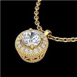 1 CTW VS/SI Diamond Solitaire Art Deco Stud Necklace 18K Yellow Gold - REF-180M2F - 36967
