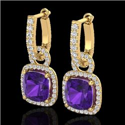 7 CTW Amethyst & Micro Pave VS/SI Diamond Certified Earrings 18K Yellow Gold - REF-101R3K - 22957