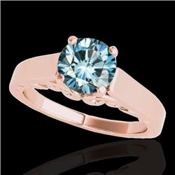 1 CTW SI Certified Fancy Blue Diamond Solitaire Ring 10K Rose Gold - REF-144X5T - 35143