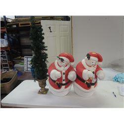 2 Christmas Snowman Plaster Pieces