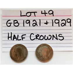 COINS, GB, 1921 &1929, HALF CROWNS