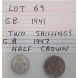 COINS, GB, 2 SHILLINGS, 1/2 CROWN