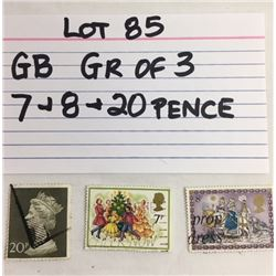 STAMPS, GB, 7, 8, 20 PENCE