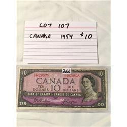 PAPER MONEY, CANADA 1954, 10 DOLLARS