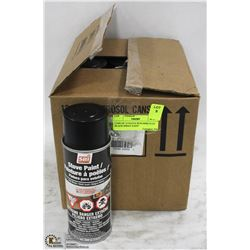 CASE OF 12 STOVE BUILDERS FLAT BLACK SPRAY PAINT