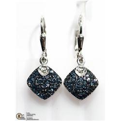4) STERLING SILVER BLUE DIAMOND EARRINGS
