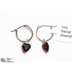10) 14K WHITE GOLD GARNET HEART HOOP EARRINGS