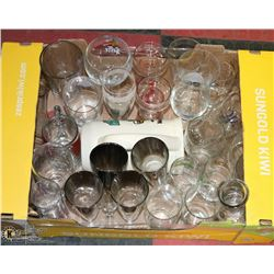 FLAT OF BEER & LIQUOR GLASSES AND ONE BEER STEIN