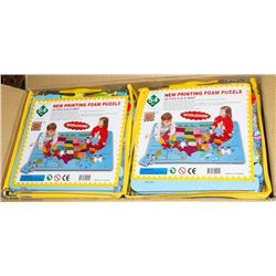 CASE OF 10 NEW 54PC PRINT MAP FOAM PUZZLES