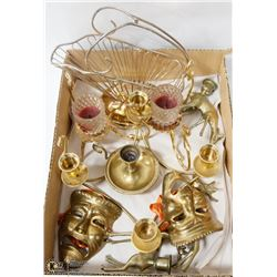 FLAT W/PARTYLITE BRASS CANDLE HOLDERS &