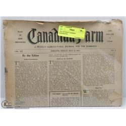 1915 ANTIQUE FARMING NEWSPAPER