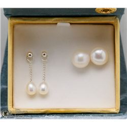 PAIR OF ST. SILVER FRESHWATER PEARL EARRINGS AND STUDS