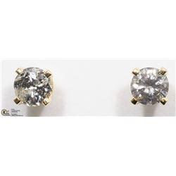 35) 14K YELLOW GOLD DIAMOND SOLITAIRE EARRINGS