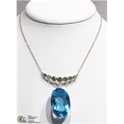 40) 10K WHITE GOLD BLUE TOPAZ & 7 DIAMOND NECKLACE
