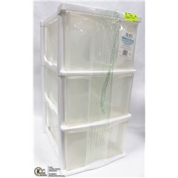 3 DRAWER PLASTIC STORAGE ORGANIZER