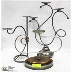 SET OF 3 SOLID WROUGHT IRON CANDLE HOLDERS
