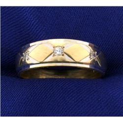 14k Diamond White and Yellow Gold Wedding Band Ring