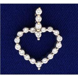 1/2 ct Diamond Heart Pendant in 18k Gold
